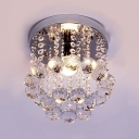 Contemporary Nickel Flush Mount Light Fixtures with Round Canopy 1 Light Clear Crystal Chandelier