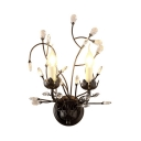 Metal Candle Wall Mount Light Fixture with Clear Crystal 2 Lights Vintage Style Sconce Lighting in Aged Bronze, H15