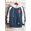 Simple Letter GET UP EARLY Patched Fashion Color Block Mens Loose Fit Hoodie