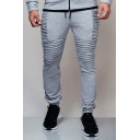 Mens Hip Hop Fashion Plain Drawstring Waist Sport Fitness Pleated Sweatpants Joggers
