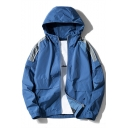 Mens Cool Patchwork Elastic Hem Long Sleeve Sport Casual Zip Up Hooded Track Jacket