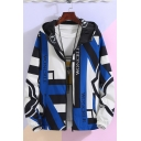 Spring New Trendy Letter Colorblock Hooded Zip Up Reversible Sport Jacket