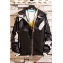 Mens New Trendy Colorblock Patchwork Long Sleeve Letter Drawstring Hooded Zip Closure Track Jacket