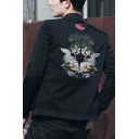 Guys Trendy Fashion Chinese Style Crane Embroidery Back Stand-Collar Zip Closure Fitted Jacket