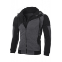 Mens Cool Stylish Colorblock Double Layered Zip Closure Fitted Hoodie