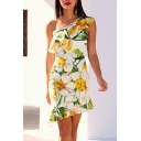 Fashion Summer Floral Printed One-Shoulder Ruffled Hem White Mini Bodycon Dress