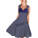 Classical Polka-Dot Printed Sleeveless Midi Fit and Flare Retro Dresses