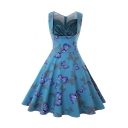 Retro Style Butterfly Polka-Dot Print Sleeveless Midi A-Line Flared Dresses