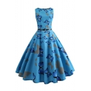 Blue All Over Butterfly Pattern Sleeveless Belt Waist Midi A-Line Flared Dress