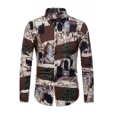 Fashion Oil Painting Mens Popular Long Sleeve Casual Fitted Khaki Shirt