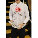 Men's Uniquely Rose Pattern Long Sleeve Slim Fit Button-Up White Shirt