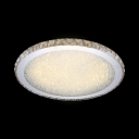 LED Circle Flush Mount Lighting Contemporary Amber Crystal Ceiling Light Fixture, White/Warm
