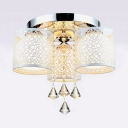 Contemporary Cylinder Semi Flush Mount Light Multi Lights Metal Ceiling Lighting with Clear Crystal Decoration