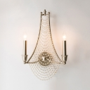 2/3 Lights Candle Wall Lamp with Clear Crystal Vintage Style Iron Sconce Lighting in Antique Brass