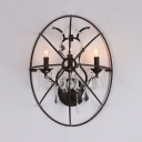 Metal Candle Sconce Lighting 3-Light Antique Style Wall Light Fixture in Black with Clear Crystal Decoration