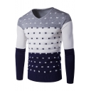 New Fashion Color Block Geometric Printed V-Neck Mens Jacquard Pullover Jumper for Men