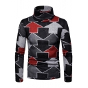 Creative Allover Arrow Print Mens Basic Warm High Neck Pullover Sweater