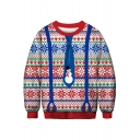 Fashion Christmas Digital Print Round Neck Long Sleeve Casual Pullover Sweater