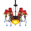 6 Lights Tapered Chandelier Colorful Metal Hanging Chandelier with Blue Crystal