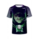 Cool Game 3D Figure Printed Round Neck Short Sleeves Relaxed Casual Tee
