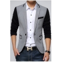 New Stylish Color Block Long Sleeve Single Button Notch Lapel Slim Fitted Blazer Jacket for Men