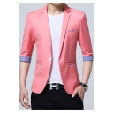 Stylish Mens Office Three-Quarter Sleeve Single Button Plaid Patchwork Slim Fit Thin Suit Blazer Jacket