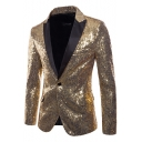 Mens Nightclub Peaked Lapel Long Sleeve Single Button Sequins Prom Tuxedo Suit