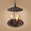 Antique Rust Chandelier with Scalloped Edge 3 Lights Metal Hanging Lamp with 19.5