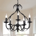 Candle Chandelier Dining Room Rustic Pendant Light with Adjustable Chain in Black