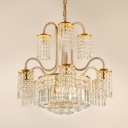 Traditional Drum Chandelier Clear Crystal 12 Lights Gold Pendant Lamp for Living Room