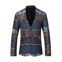 Men's Retro Ethnic Pattern Long Sleeve Notched Lapel Double Button Split Back Suit Blazer
