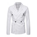 Men's Classic Striped Pattern Shawl Collar Long Sleeve Double Button Front Blazer Coat