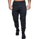 Men's Trendy Pleated Detail Zip Pockets Button-Fly Plain Casual Sport Pants Sweatpants