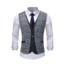 Men's Stylish Plaid Printed Single Breasted Fake Two-Piece Slim Fit Suit Vest