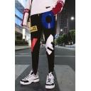 Trendy Letter LOVE Printed Black Drawstring Waist Slim Fitted Sport Sweatpants for Men