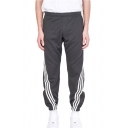 Unique Striped Print Elastic Waist Casual Cotton Outdoor Running Track Pants Sweatpants for Men