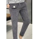 Mens Fashion Pockets Patched Drawstring Waist Corduroy Plain Casual Tapered Pants