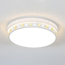 Drum LED Flush Mount Light with Clear Crystal Decoration Acrylic Modern Ceiling Lamp in White for Bedroom