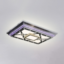 Contemporary Rectangle Ceiling Fixture Crystal Chrome LED Flush Light for Dining Room