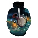 New Trendy Lovely Cartoon Totoro in Rain 3D Printed Drawstring Hoodie in Blue