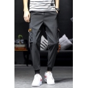 New Fashion Simple Letter SPORT Ribbon Pocket Drawstring Waist Casual Tapered Cargo Trousers
