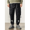 Simple Letter N Ribbon Pocket Side Mens Fashion Black Loose Track Pants Cargo Pants