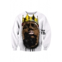 3D American Rapper Figure Crown Print Long Sleeve Round Neck White Sweatshirt