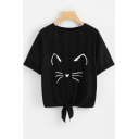 Lovely Cartoon Cat Ears Printed Round Neck Short Sleeve Tied Hem Casual Tee