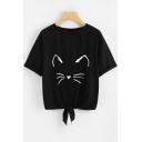Lovely Cartoon Cat Ears Printed Round Neck Short Sleeve Tied Hem Casual Tee