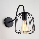 Wire Frame Wall Light Kitchen Foyer Single Light Vintage Metal Wall Sconce in Black