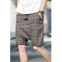 Guys Summer Fashion Plaid Pattern Drop-Crotch Drawstring Waist Loose Leisure Shorts