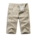 Mens New Fashion Printed Cotton Casual Quick-Dry Straight Fit Tailored Shorts