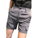 New Trendy Solid Color Pockets Patched Casual Linen Shorts for Men
