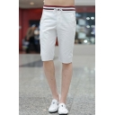 Trendy Striped Pattern Drawstring-Waist Mens Sport Casual Relaxed Active Shorts